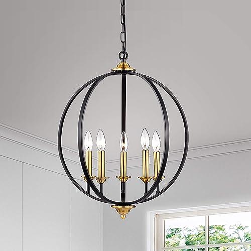 5-Light Chandelier Globe Modern Pendant Light Candle Style Sphere Ceiling Light Classic Black Finish Hanging Light Fixture for Dining Room Kitchen Living Room Restaurant