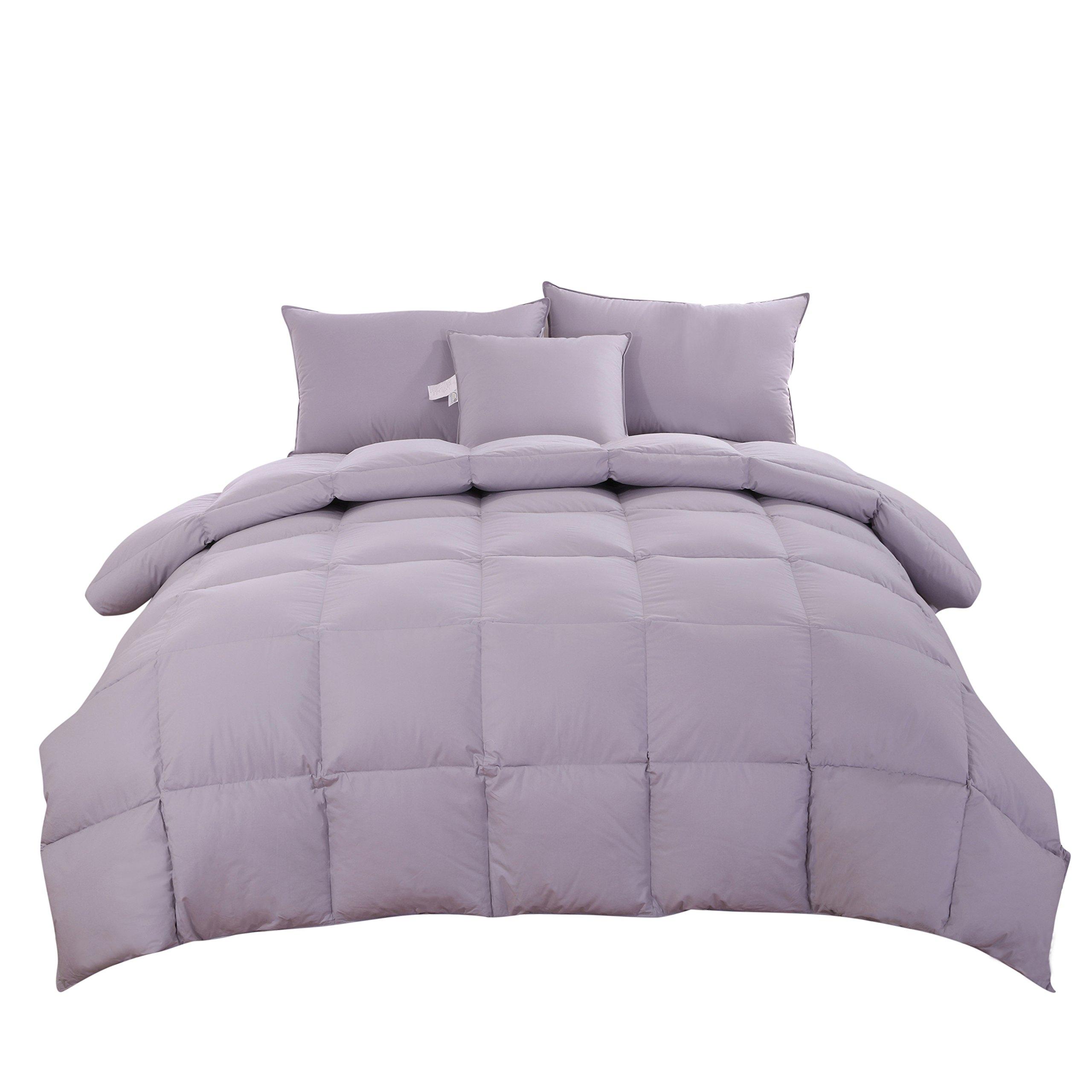 Unite Down BEST 90% GOOSE DOWN Grey Comforter/Duvet/Quilt For All Seasons, 100% Organic Cotton 800TC, 850+ Filling Power, Durable, Grey Full