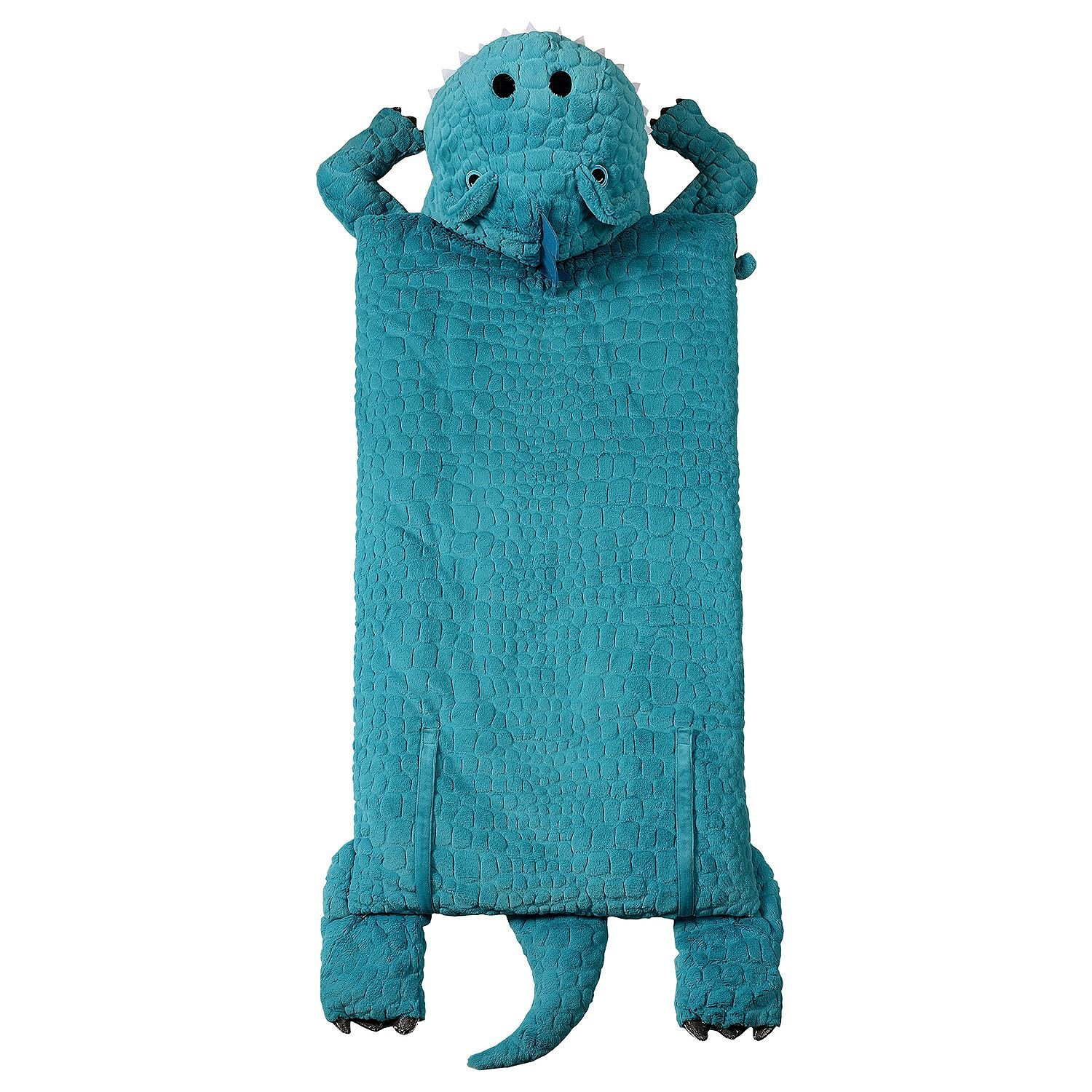 Kids Plush Animal Slumber/Sleeping Bag with Super-Soft Cozy Faux Fur (Blue T-Rex) by Women Owned