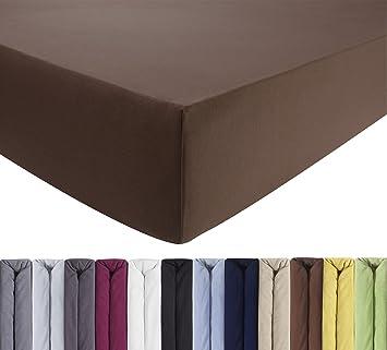 180 x 220 cm Jersey Baumwolle Wasserbett Spannbettlaken Spannbetttuch braun