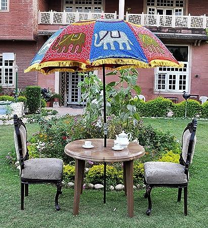 MegaCraft Indian Garden Outdoor Parasol 52 x 72 Umbrella Sunshade  Decorative Cotton Patio - Amazon.com: MegaCraft Indian Garden Outdoor Parasol 52 X 72 Umbrella