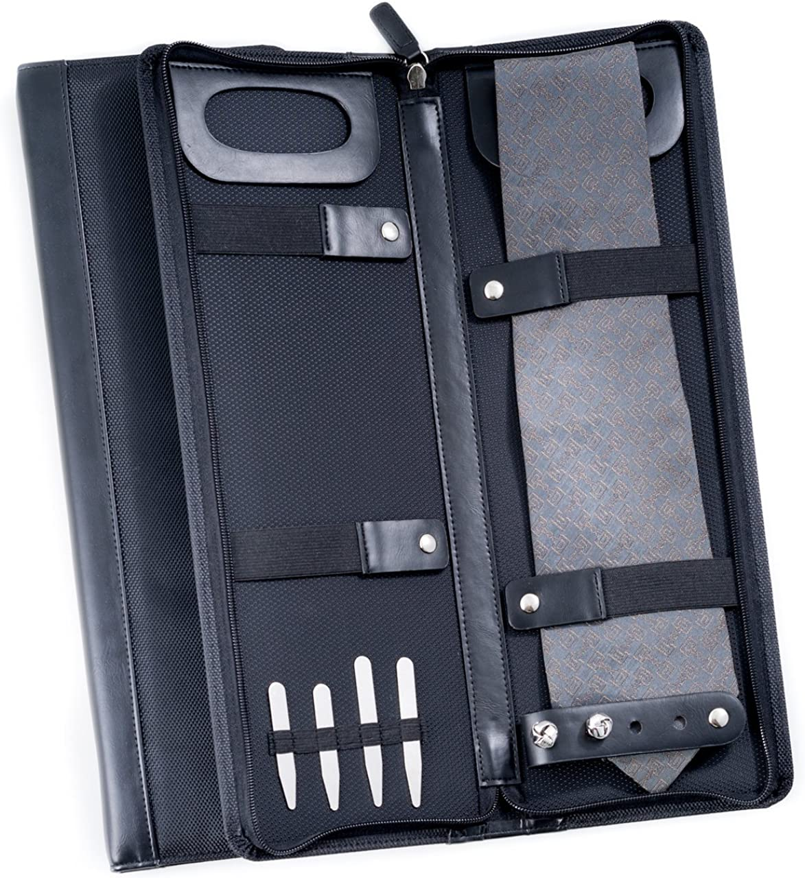 Men's Black Ballistic Nylon Travel Necktie Tie Case Holder & Collar Stays