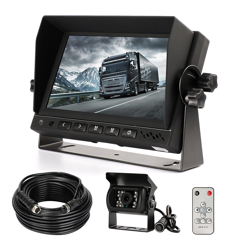 Camé ra de recul et kit de moniteur, HD é tanche Vision de nuit Camé ra de recul filaire + 17,8 cm LCD Monitor Systè me d'assistance Parking pour voiture/BUS/camion/Van/caravane/remorque/Camper (Cl718d) SANCHE ELEC