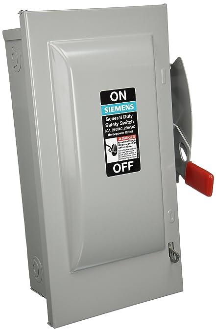 siemens gf222n 60 amp 2 pole 240 volt 3 wire fused general duty rh amazon com 60 Amp Wire Size 50 Amp Wire Size