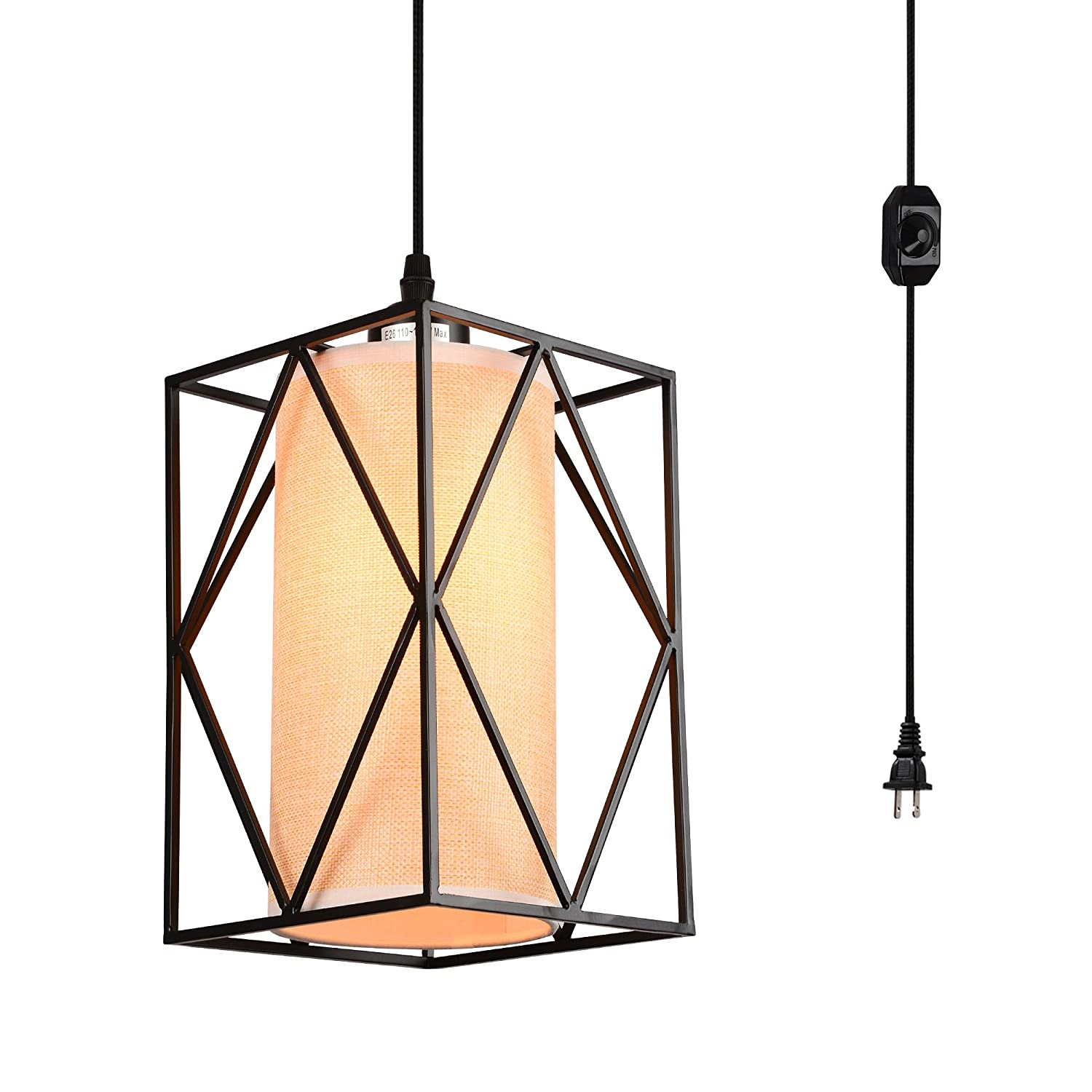 HMVPL Swag Pendant Lights with Plug in Cord and On/Off Dimmer Switch, New Transitional Hanging Ceiling Lamps with Linen Lampshade for Kitchen Island, Dining Room, Living Room, Bed Room