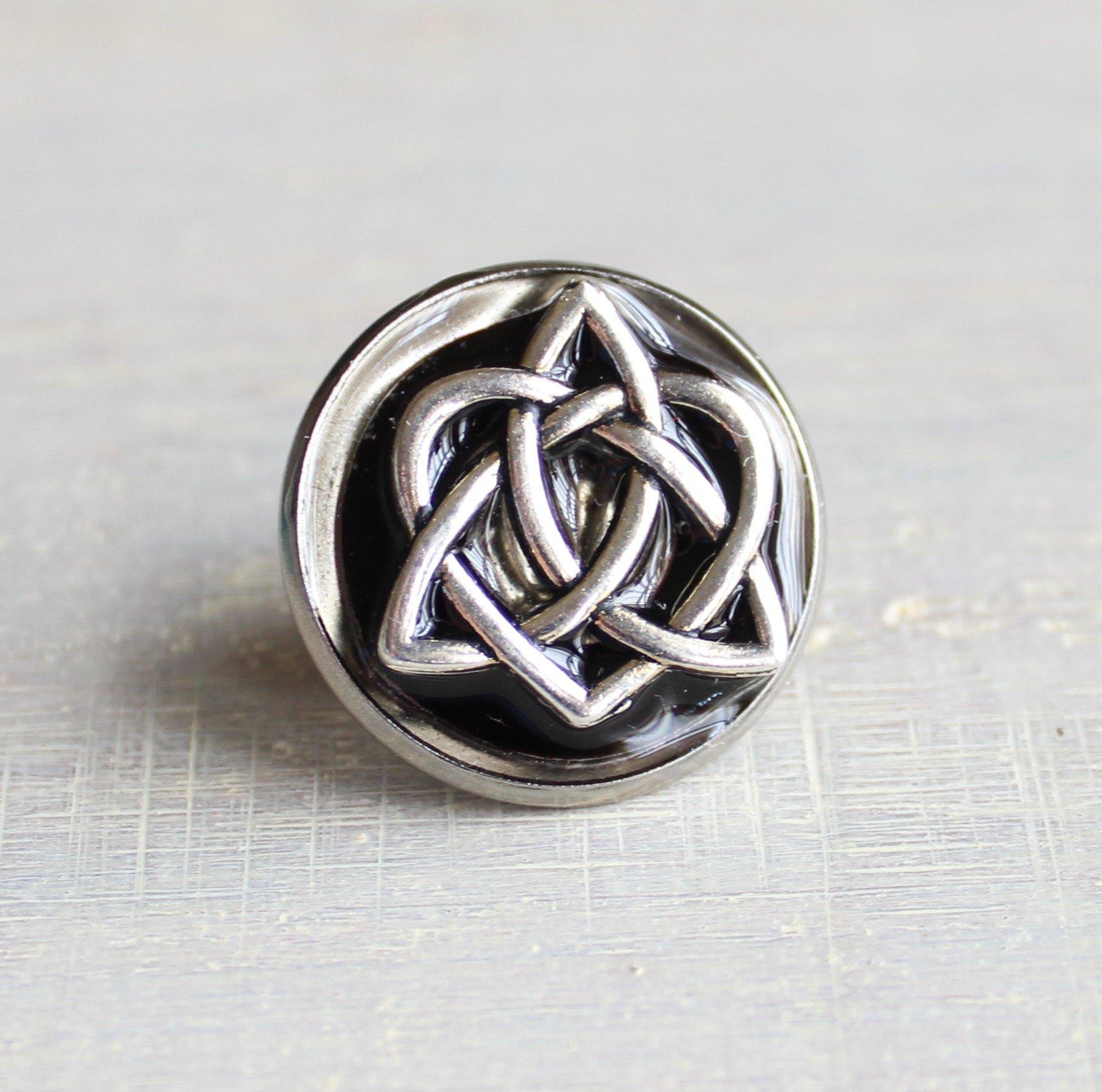 Black celtic knot tie tack / lapel pin.