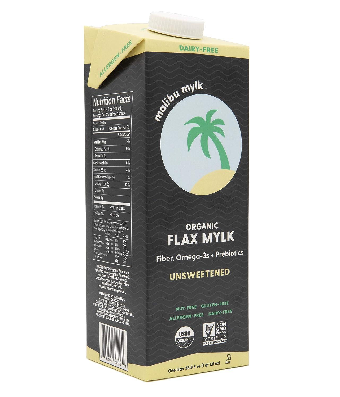 Malibu Mylk Unsweetened Organic Flax Milk   Dairy-Free, Vegan, Plant-Based Milk Substitute (6 Pack)