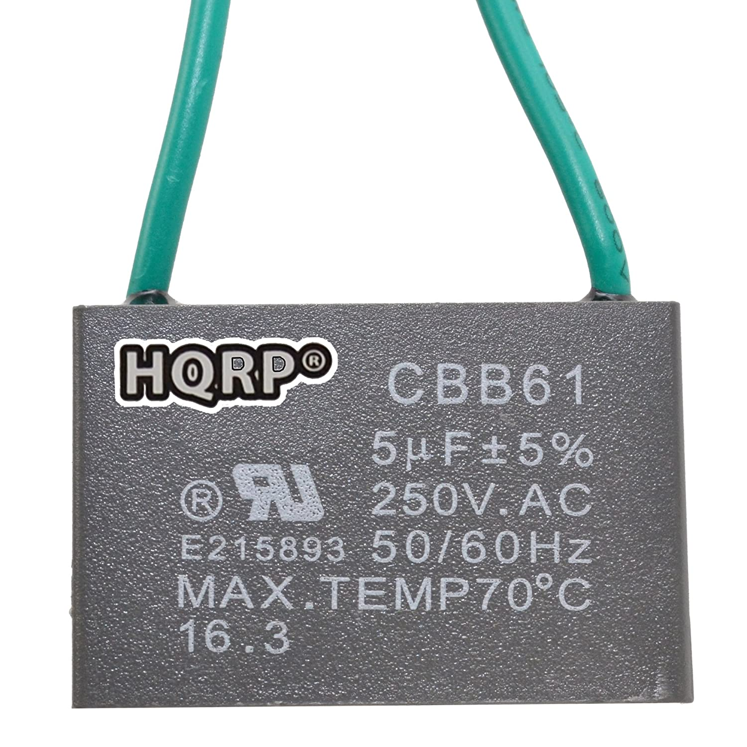 Com Hqrp Ceiling Fan Capacitor Cbb61 5uf 2 Wire Plus Coaster Home Kitchen