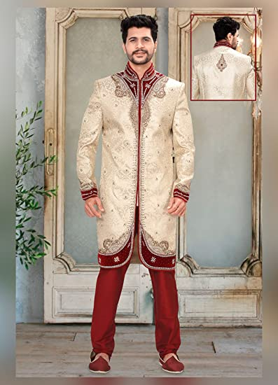 77dccad3ab Venisons Cream and Red Banarasi Silk Embroidered Work Designer Wedding  Sherwani: Amazon.co.uk: Clothing