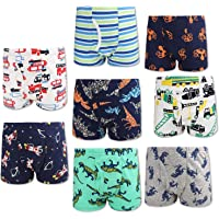 MooMoo Baby 8Pcs 6-7T Breathable Soft Cotton Boys Kids Boxer Shorts Elastic Seamless Toddler Boys Underwears Kids Undies…