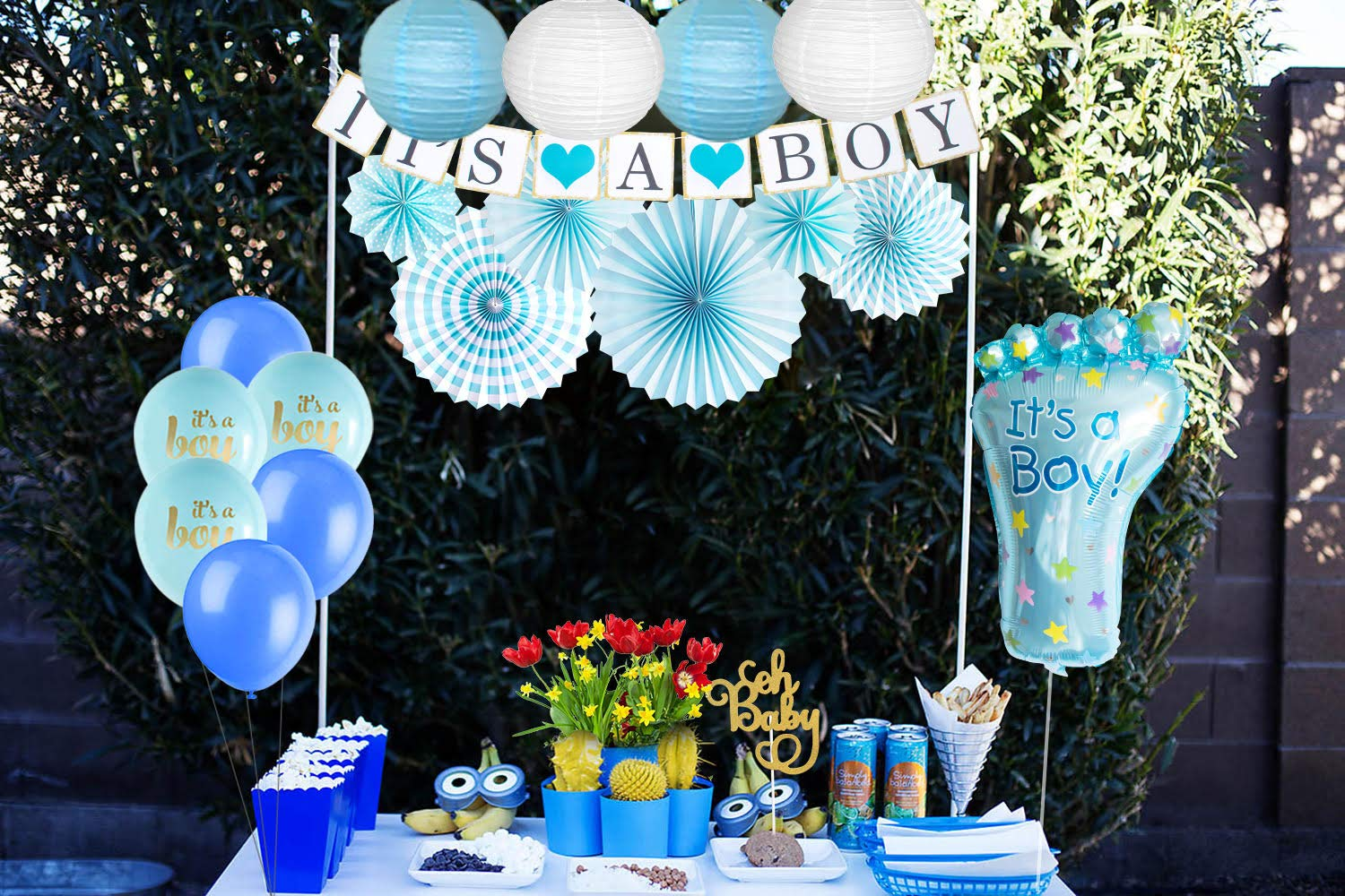 Baby Shower Decorations for Boy I BabyShower Backdrop Decor I Boy Baby Shower Decorations I Premium Party Decoration Items I Its a Boy Banner Star Swirls Foot-shaped Foil Balloon Lanterns, Cake Topper by Moment-O-Mania (Image #3)