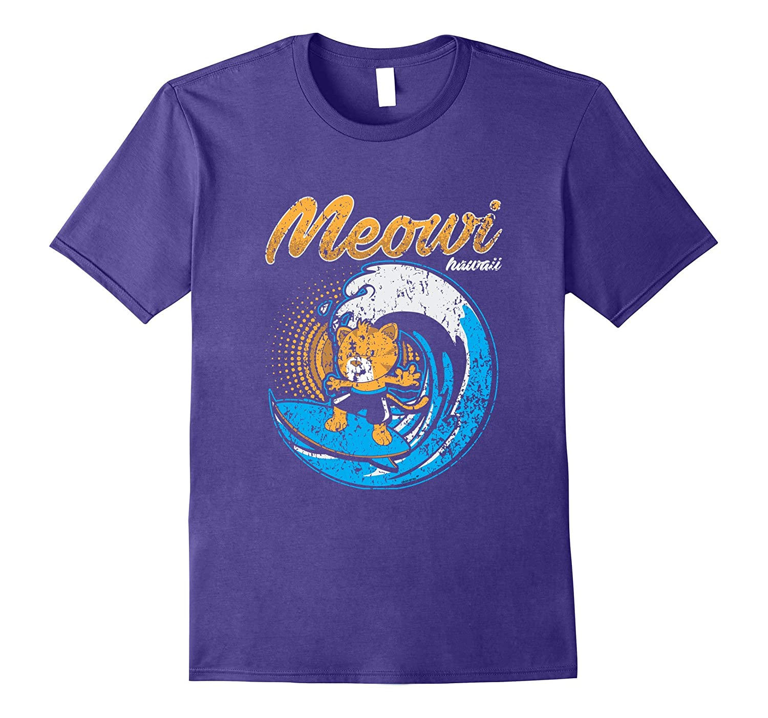 Distressed Kitty Cat Meowi Maui Hawaii Surf Hang Loose Shirt-T-Shirt