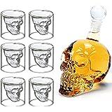 MVPOWER Decorazione Skull Head 700ml Bottiglia Teschio Con Bicchieri Cristalli In Vetro Disegno Moderno Regalo Glass Creativo Halloween Per Liquore Birra Vino