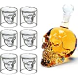 MVPOWER Set de 6 vaso de cristal Vaso cerveza Vino 700ML Botella de vino Botella Cráneo Aireador de Vino 75ML Vidrio
