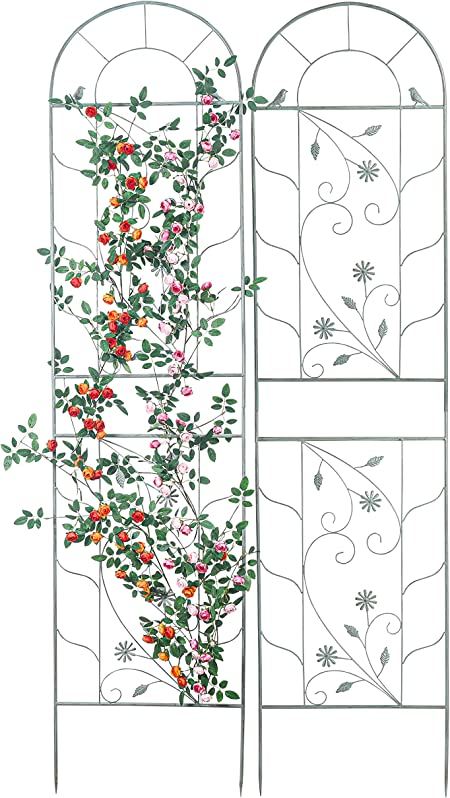 Sungmor Large Wrought Iron Garden Trellises for Climbing Plants - 82.5 Inch Tall & 2PC Green Pack - Beautiful Retro Style Metal Fence Trellis - Gardening Vines Plant Support for Flower Rose Climbing
