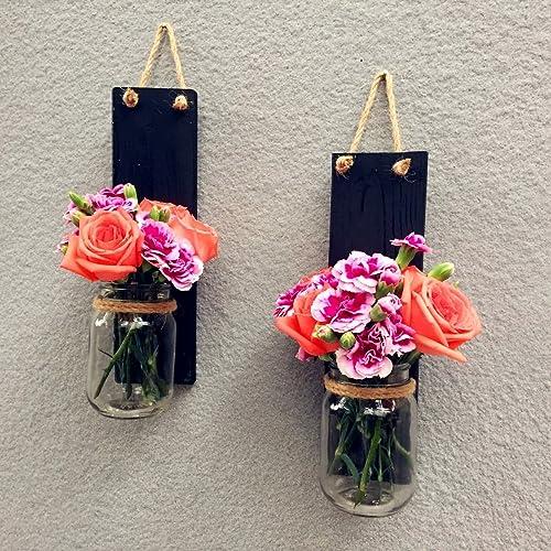 Amazon.com: Set of 2 Mason Jar Wall Sconces, Hanging Candle Holder ...