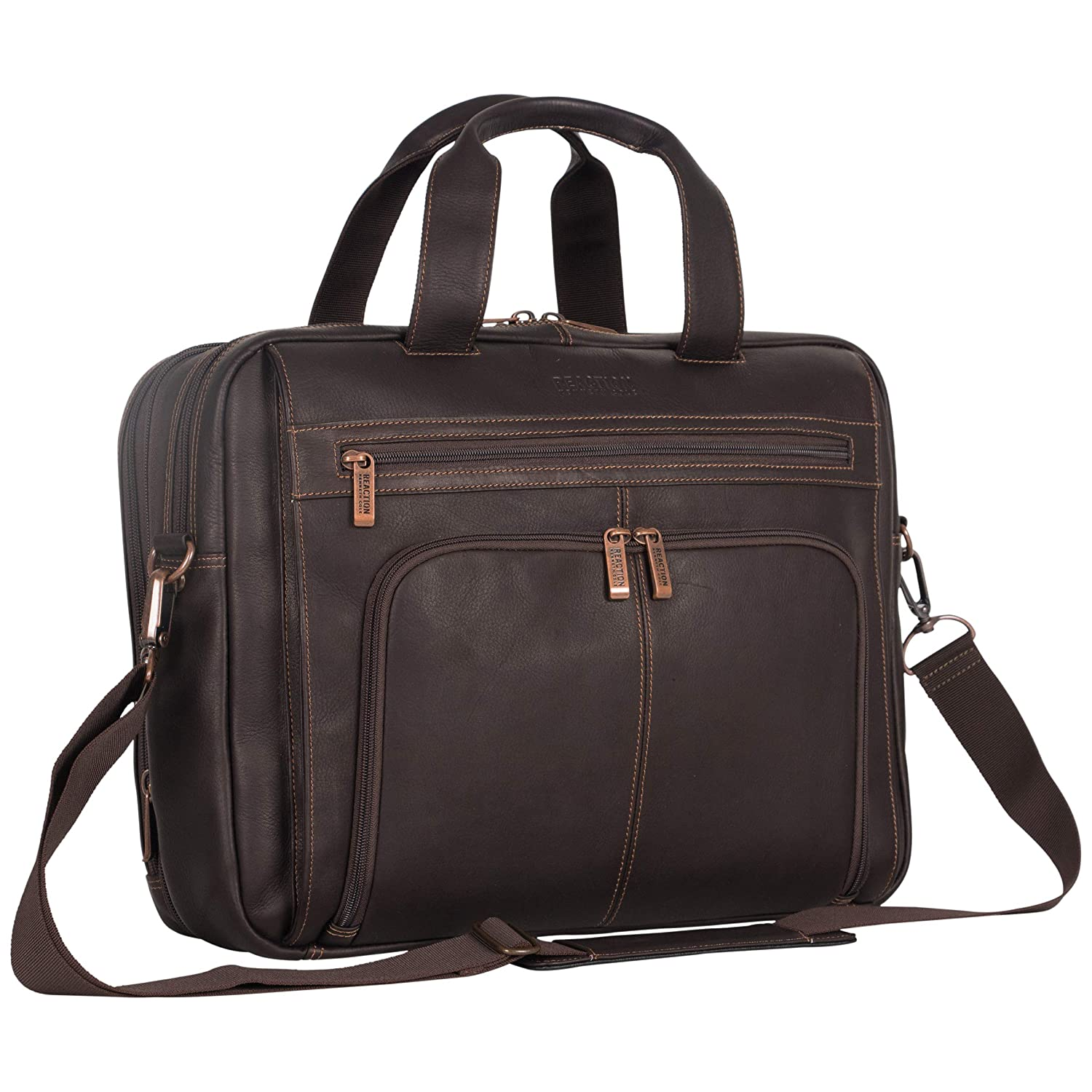 Kenneth Cole Reaction Colombian Leather Dual Compartment Expandable 15.6 Laptop Portfolio, Cognac Heritage-Kenneth Cole Luggage 524464