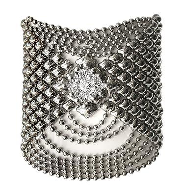0ee91c5e9bd Liquid Metal by SG Silver Mesh Cuff Bracelet Swarovski Crystals RSB7 by Sergio  Gutierrez: Amazon.co.uk: Jewellery