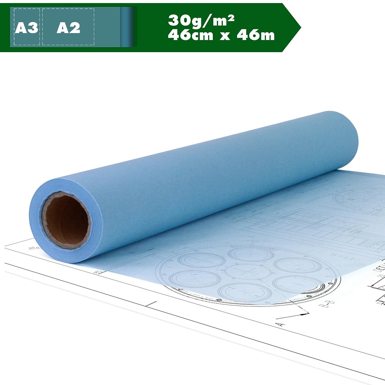 Kultloggen Skizzenrolle Skizzenpapier Seidenpapier Schnittmusterpapier Pauspapier Rolle halbdurchsichtig Transparentpapier Tracing Paper Blau A2 A3 30 g//m² 18 in x 50 YD