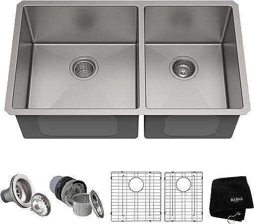 Amazon.com: Kraus KHU103-33 Fregadero doble de cocina de ...