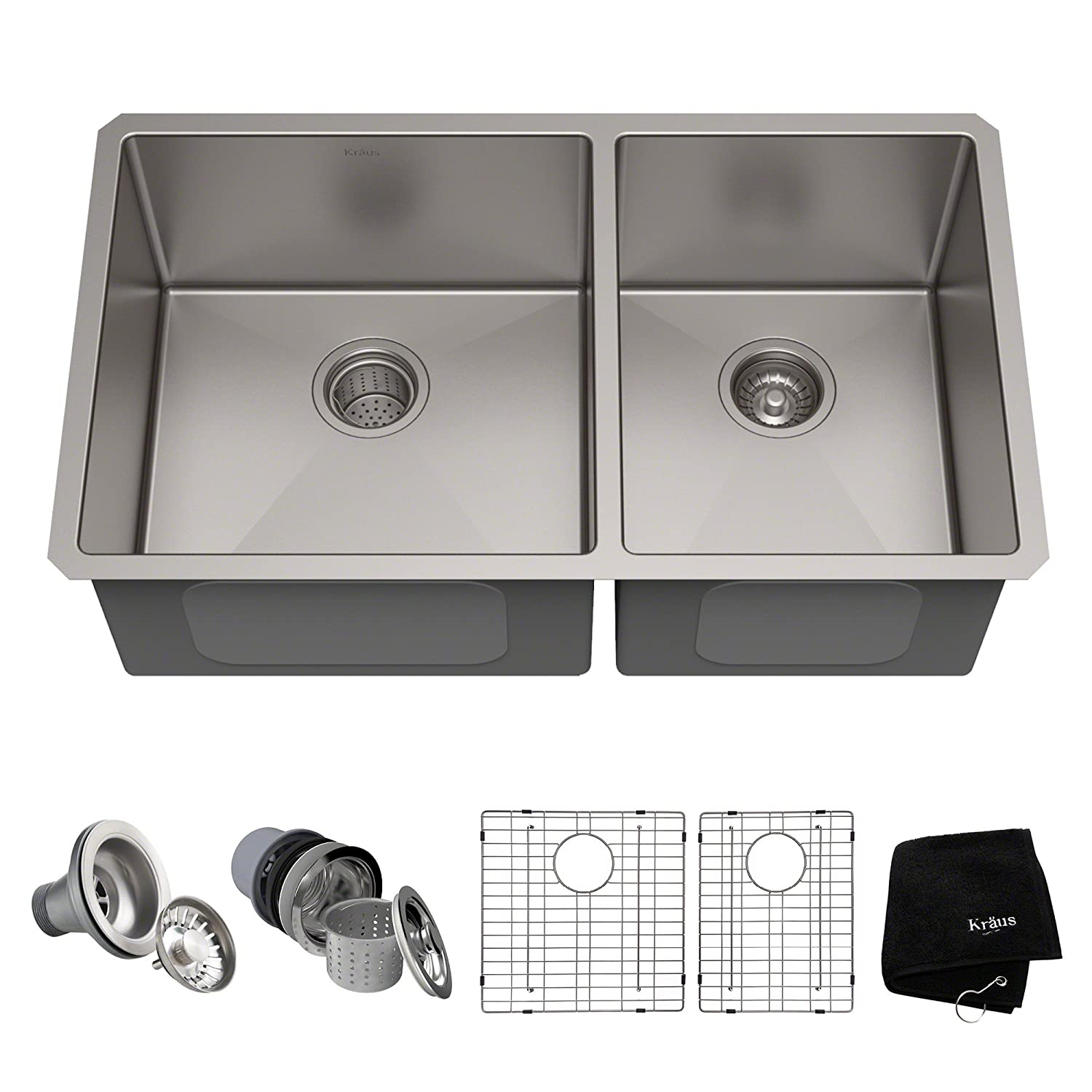 Kraus Standart PRO 33-inch 16 Gauge Undermount 60 40 Double Bowl Stainless Steel Kitchen Sink, KHU103-33