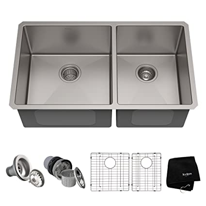8c5e980a01 Kraus Standart PRO 33-inch 16 Gauge Undermount 60/40 Double Bowl Stainless  Steel Kitchen Sink, KHU103-33 - - Amazon.com
