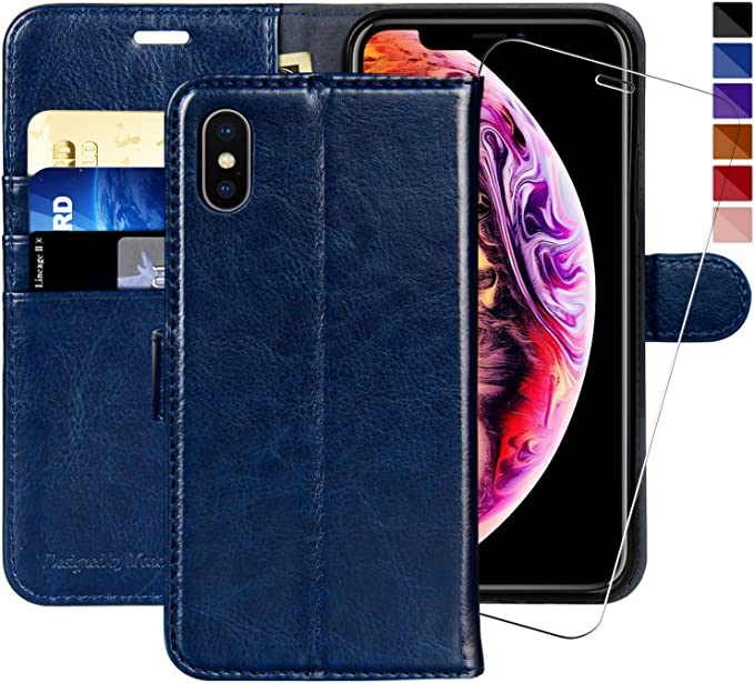 MONASAY iPhone Xs MAX Wallet Case,6.5 inch, [Glass Screen Protector Included] Flip Folio Leather Cell Phone Cover with Credit Card Holder for Apple
