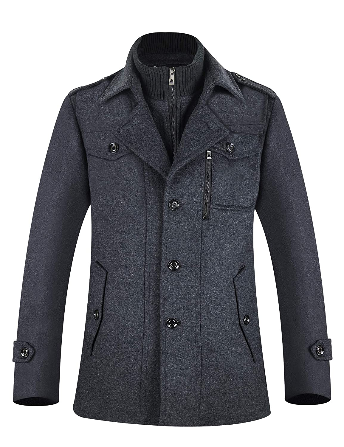 2a8cc61cfa7 APTRO Men's Winter Slim Fit Wool Coat Single Breasted Wool Trench Coats:  Amazon.ca: Clothing & Accessories