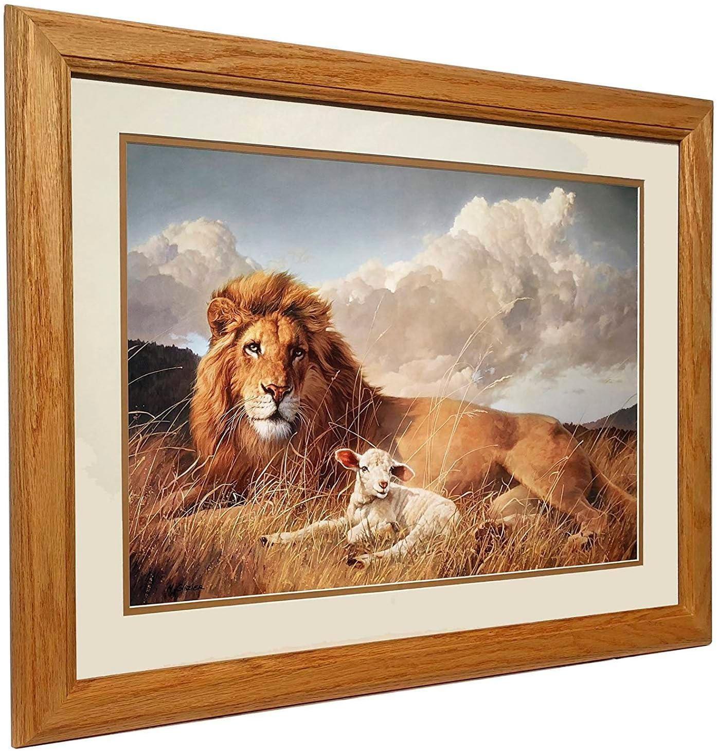 Amazon Com Nancy Glazier Peace And Harmony Framed Lion Lamb Art Print Posters Prints