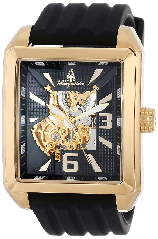 Burgmeister BM325-222 - Reloj analógico automático para Hombre con Correa de Silicona, Color Negro