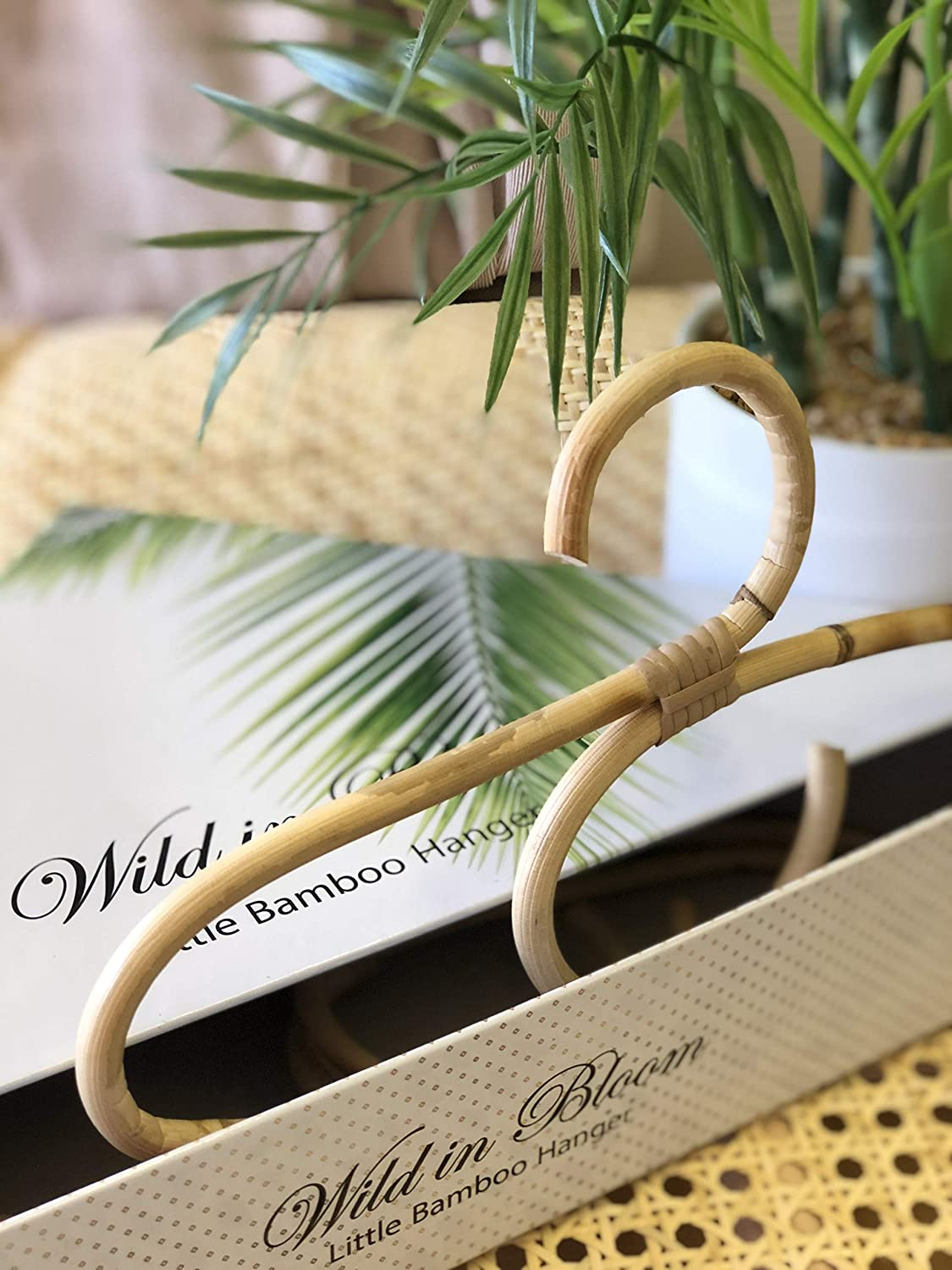 Little Bamboo Hanger, Childrens'; Baby, Bamboo, Rattan, Wooden Hangar or Coat Hanger Gift Set. Perfect as a Baby Shower Gift or for Infant, Toddler and Children's Nursery Decor