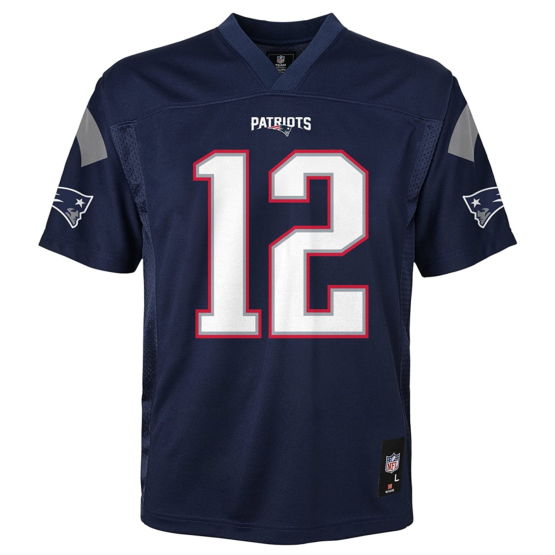 9ab34b80 NFL Youth Boys 8-20 Tom Brady New England Patriots Boys -Player Name  Jersey, Dark Navy, L(14-16)