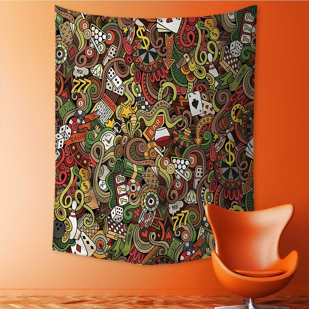 Nalahome Wall Hanging Wall Tapestry Psychedelic Tapestry Doodles Style Bingo Excitement Checkers King Tambourine Vegas Bathroom Tapestry Hamsa for Bedroom Living Room Dorm 24L x 36W Inches