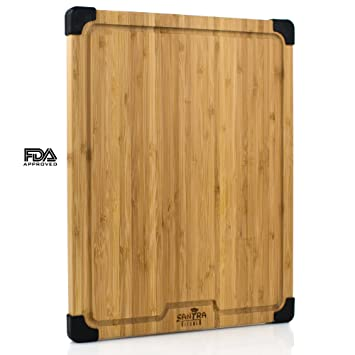 Gran bambú tabla de cortar con pies de silicona antideslizante, orgánico Natural tabla de cortar