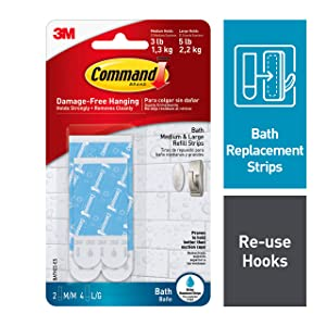 Command Bath Water Resistant Refill Strips, 2-Medium and 4-Large Strips (BATH22-ES-E)