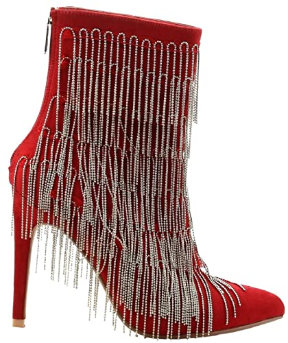 ea7d211f5a92 Cape Robbin Gigi-58 Ankle High Pointed Pointy Toe Metal Chain Fringe  Stiletto High Heel