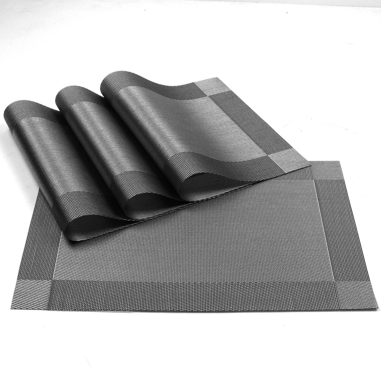 Placemat,U'Artlines Crossweave Woven Vinyl Non-slip Insulation Placemat Washable Table Mats Set of 6 (6pcs placemats, Grey) by U'Artlines (Image #4)