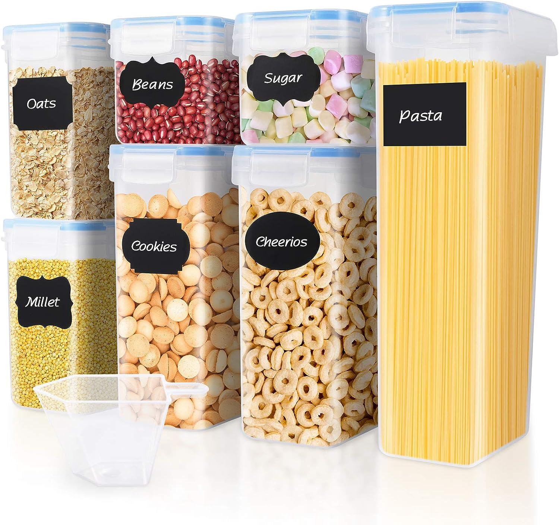 Avena Pasta Galletas Tiene Buena Estanqueidad al Aire Se Mantiene Fresco y Puede Almacenar Cereales 1.6L Etc SOLEDI Recipientes de Almacenamiento de Cereales Juego de 6 Recipientes de
