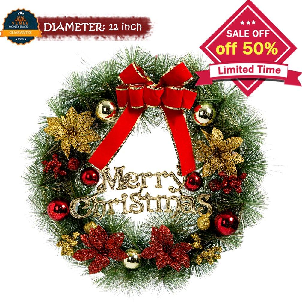 vemee christmas wreath christmas decorated ornament wreath garland seasonal pine wreath with cones red berries bristle indoor outdoor window - Window Wreaths Christmas Decorations