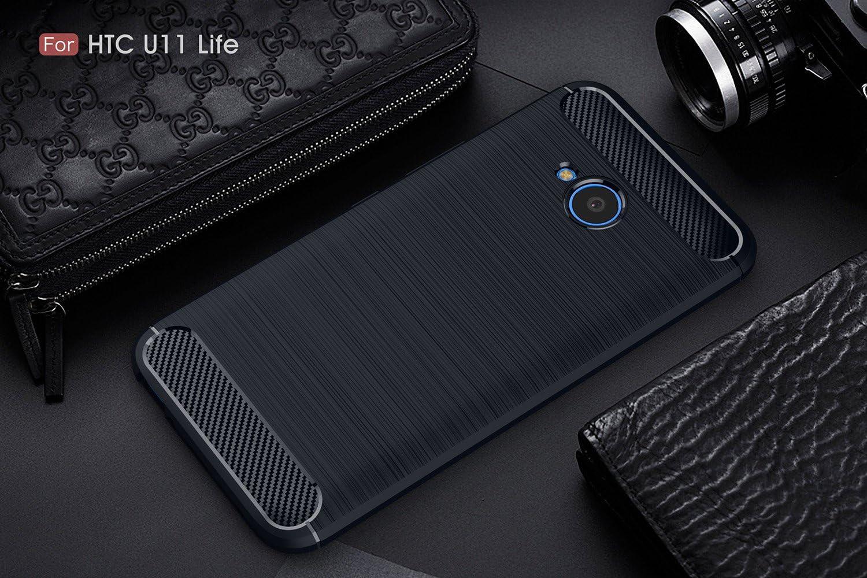 KaiTelin Funda HTC U11 Life - Moda Delgado TPU Cáscara Prueba de Choques Suave Cubierta Posterior Carcasa y Fibra de Carbono Diseño Funda para HTC U11 Life - Marino ...