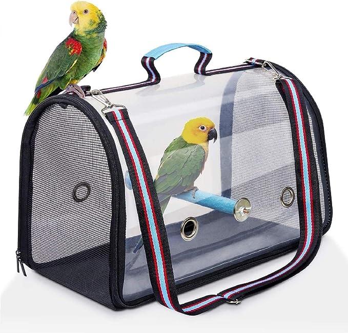 Supby Pájaro de la Jaula de Aves Jaula de Aves Portador de Aves, Ligero, Transparente y Transpirable, incluya la Bandeja Inferior para facilitar la Limpieza de la Jaula de pájaros,Azul