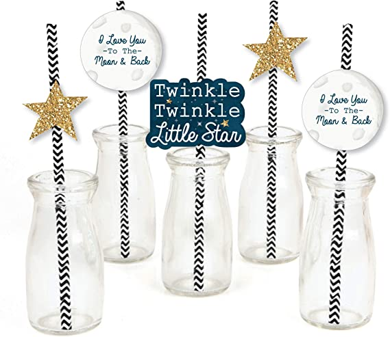Hollywood Glam Light Blue Moon and Star Birthday Decor Wish Upon A Star Twinkle Twinkle Little Star Baby Shower Silver Foil Star Straws