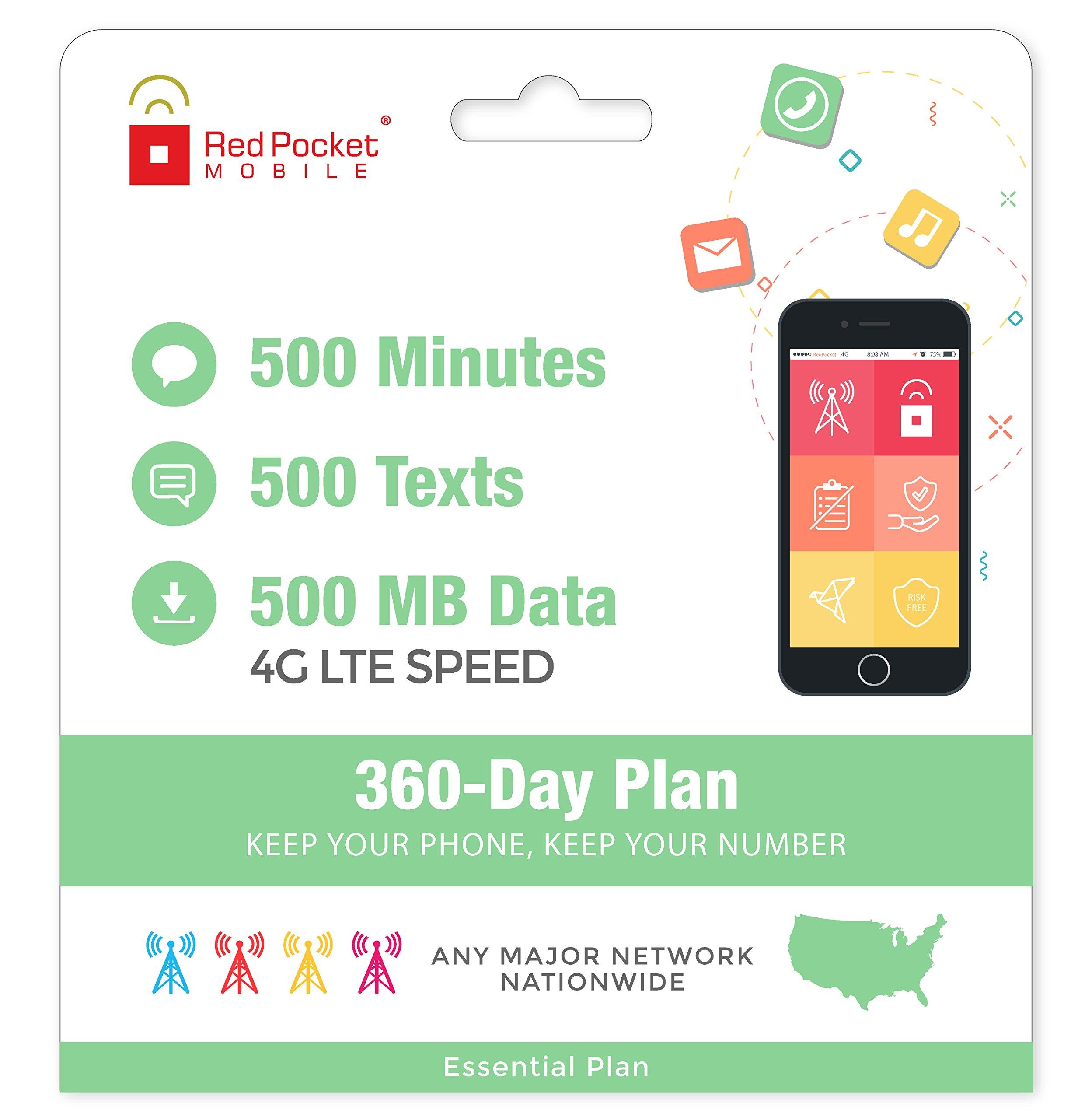 $8.25/Mo Red Pocket Prepaid Wireless Phone Plan + SIM; 500 Talk 500 Text 500MB