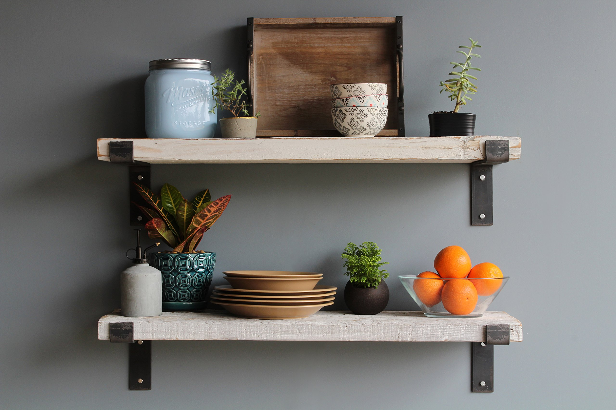 Urban Legacy Reclaimed Barn Wood Shelves | Amish Handcrafted in Lancaster, PA Rustic, Industrial, with Raw Metal Brackets | Set of 2-36 inches long, 10 inches deep, 2 inches thick by (White Washed)