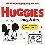 Huggies Snug & Dry Baby Diapers, Size 2 (fits 12-18 lb.), 180 Count, Giant Pack (Packaging May Vary)
