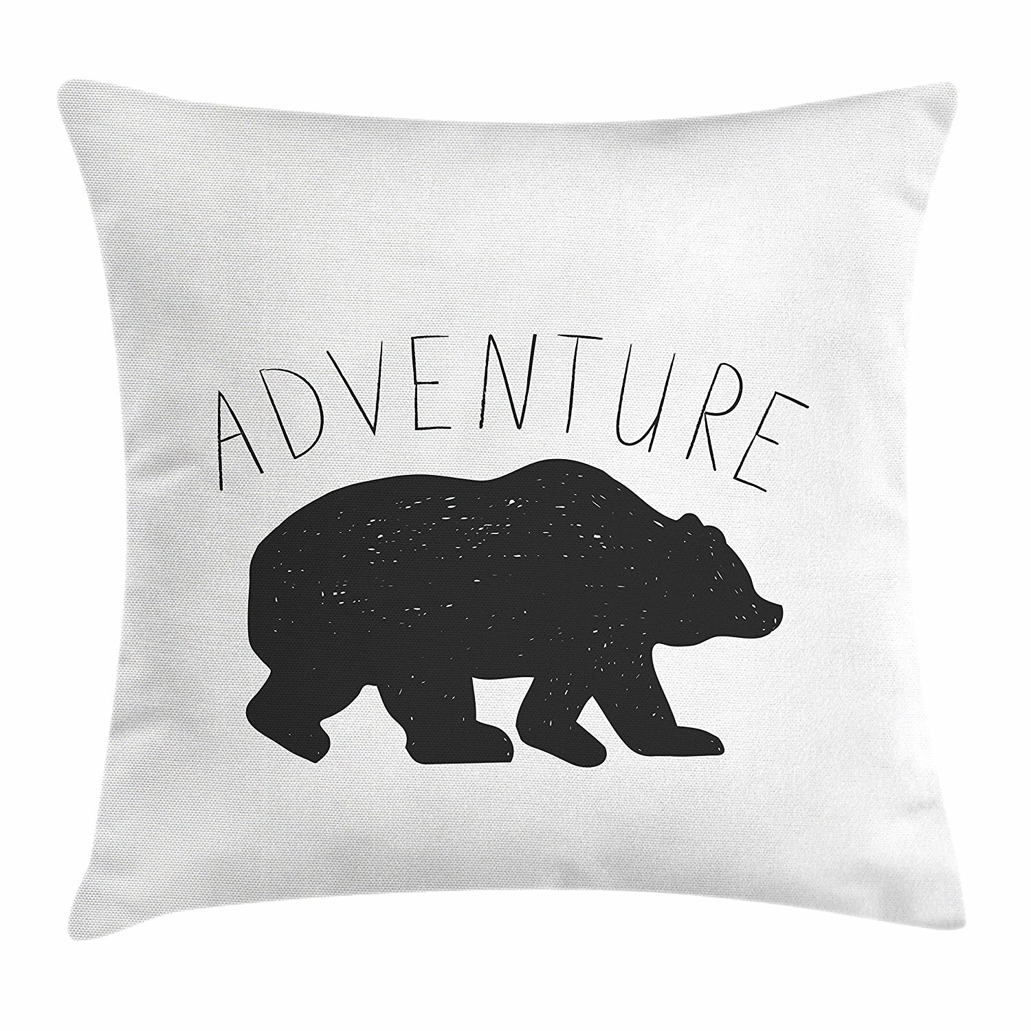 Adventure Throw Pillow Cushion Cover, Black Silhouette of a Wild Bear Zoo Animal Nature Passion Hipster Design, Decorative Square Accent Pillow Case, 18 X 18 inches, Charcoal Grey White Cool pillow