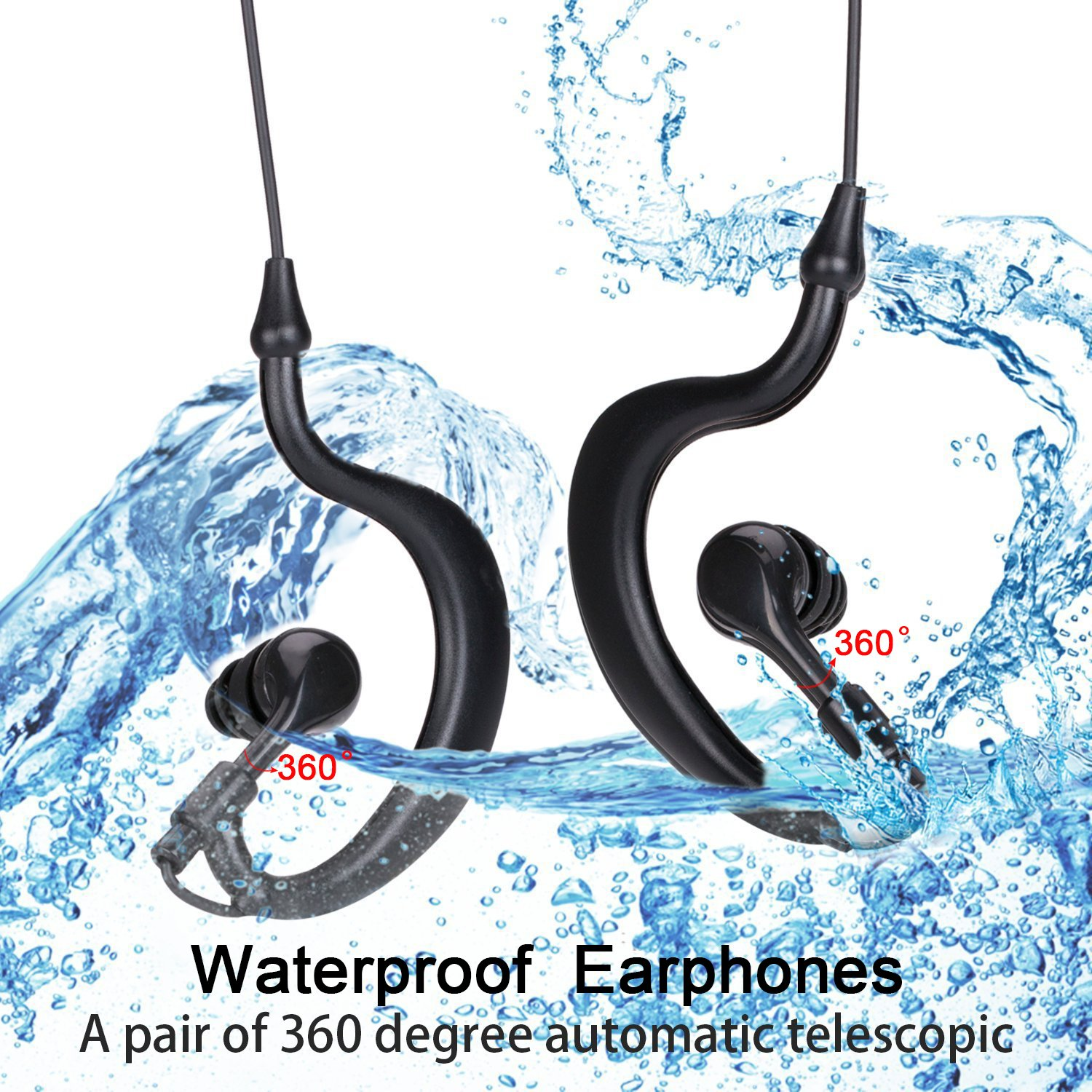 Waterproof MP3 Player, EATPOW 8GB IPX8 Upgraded Waterproof Stereo Earphone Underwater Sport MP3 with FM Radio Music Player for Swimming,Running,Water Sports (Max Depth 10M/32.8ft)