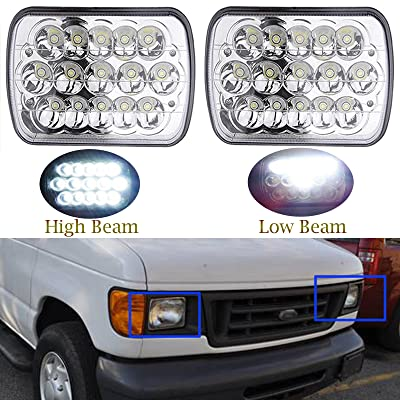 7x6 Inch for Ford E-150 E-250 E-350 LED Headlights Sealed Beam Square Headlamps High Low Double Beam H6014 H6052 H6054 6054 45W 1Pair - 2 Yr Guarantee: Automotive