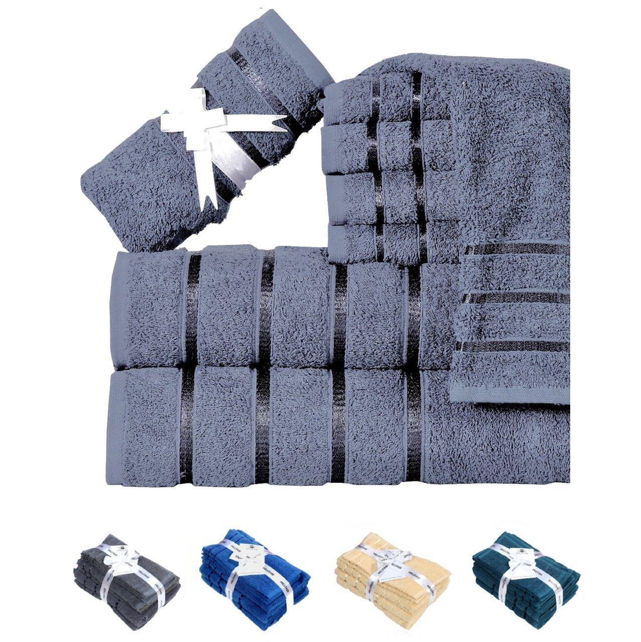 HILLFAIR 600 GSM Luxury 8-Piece 100% Long-Staple Combed Cotton Bath Towel Set (GREY); 2 Bath Towels,2 Hand Towels,4 Washcloths, Hotel & Spa Towels, Turkish Cotton Quality, Super Soft & Absorbent