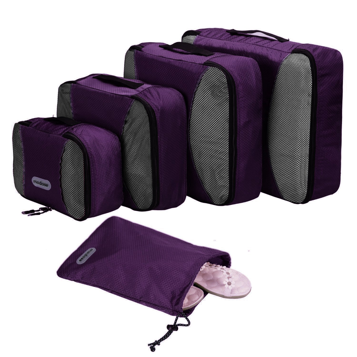 modase Premium Packing Cubes Set Travel, 4-Piece Organizer Bags Laundry Bag